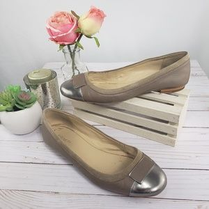 Coach Taupe and Pewter Leather Ballet Flats